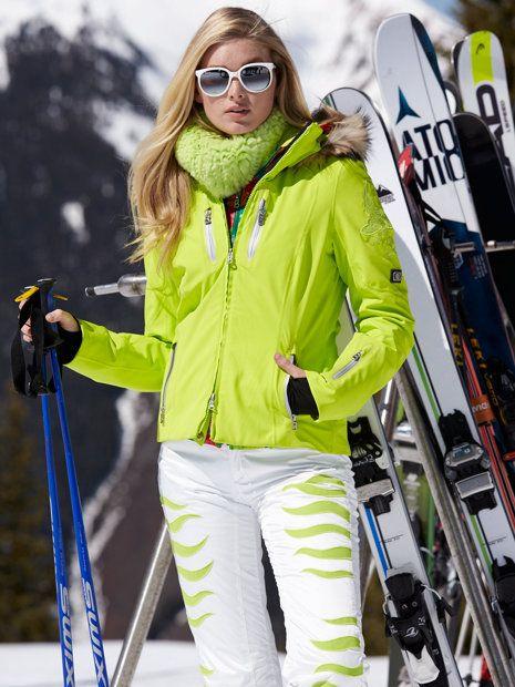 BOGNER Women Designer Ski Wear | Glowing Green 'Tina-tp' Jacket with Fur trim