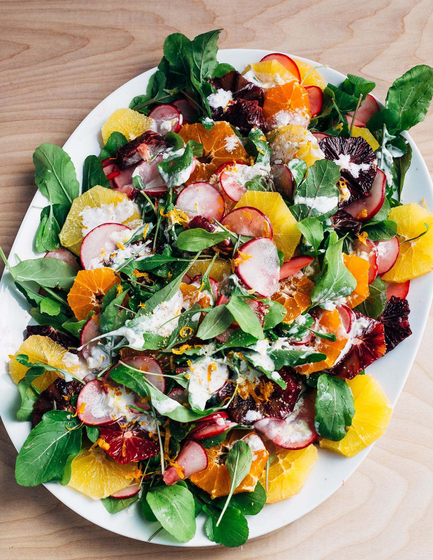 Radish Orange And Arugula Salad With Buttermilk Ranch Dressing Recipe Vegetarian Salad Recipes Arugula Salad Seasoning Recipes