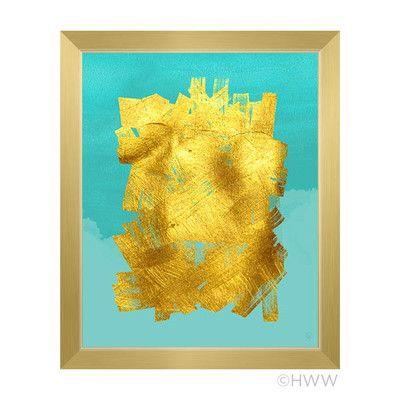 Click Wall Art Abstract Framed Graphic Art, blue gold wall art http ...