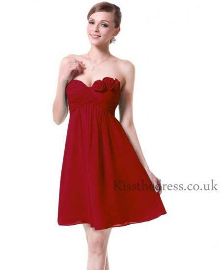 Red Chiffon Sweetheart Floral Empire Short Bridesmaid Dress BD014 ...