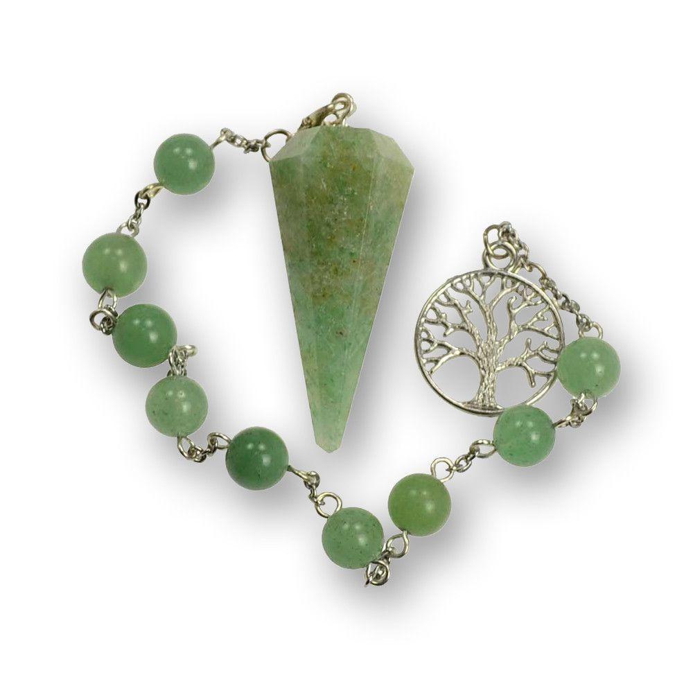 Pendulum with Green Aventurine and Tree of Life Charm Bracelet