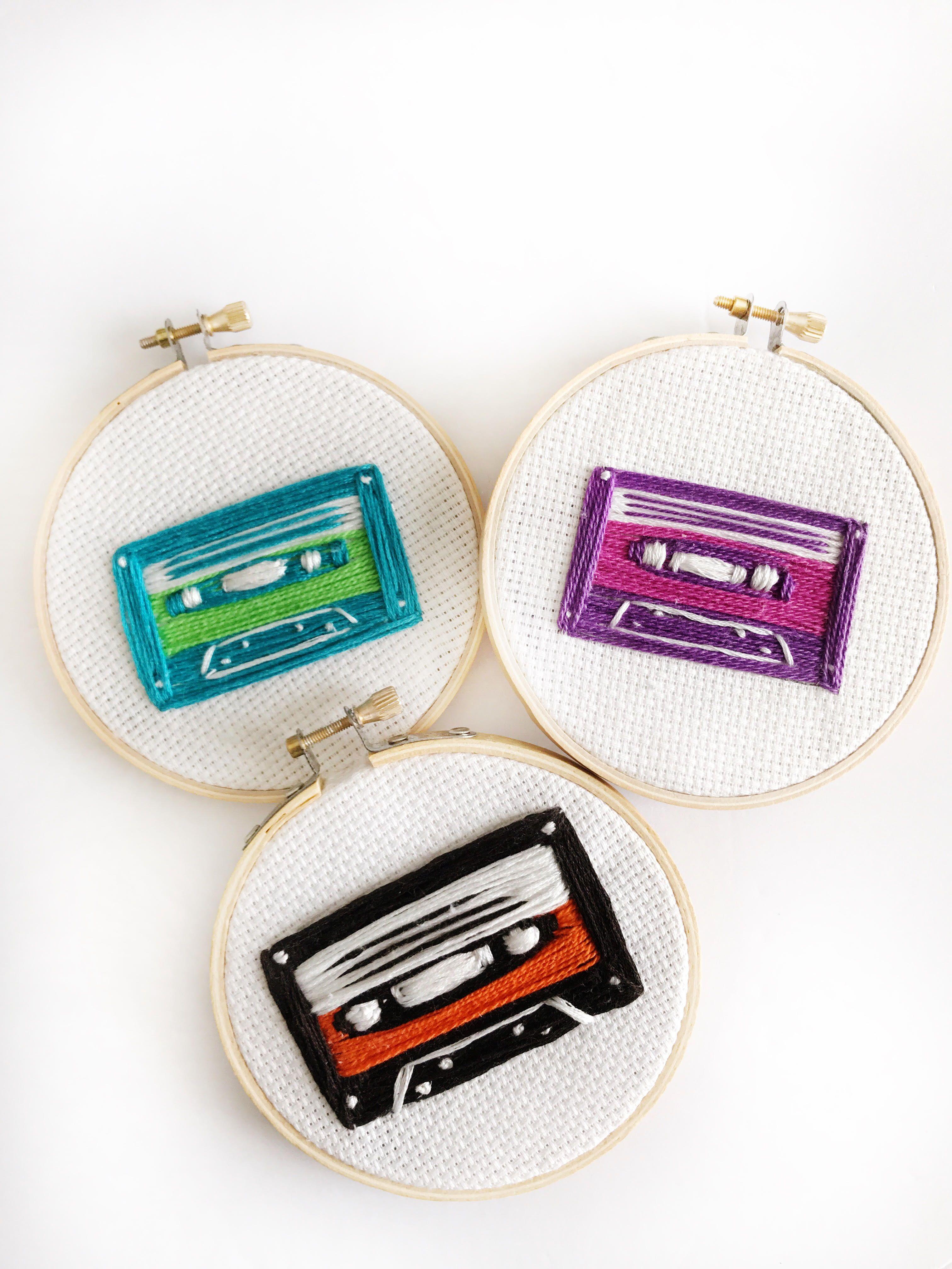 Cassette Embroidery Hoop Cassette Tape Art Tape Art Tape Wall Art