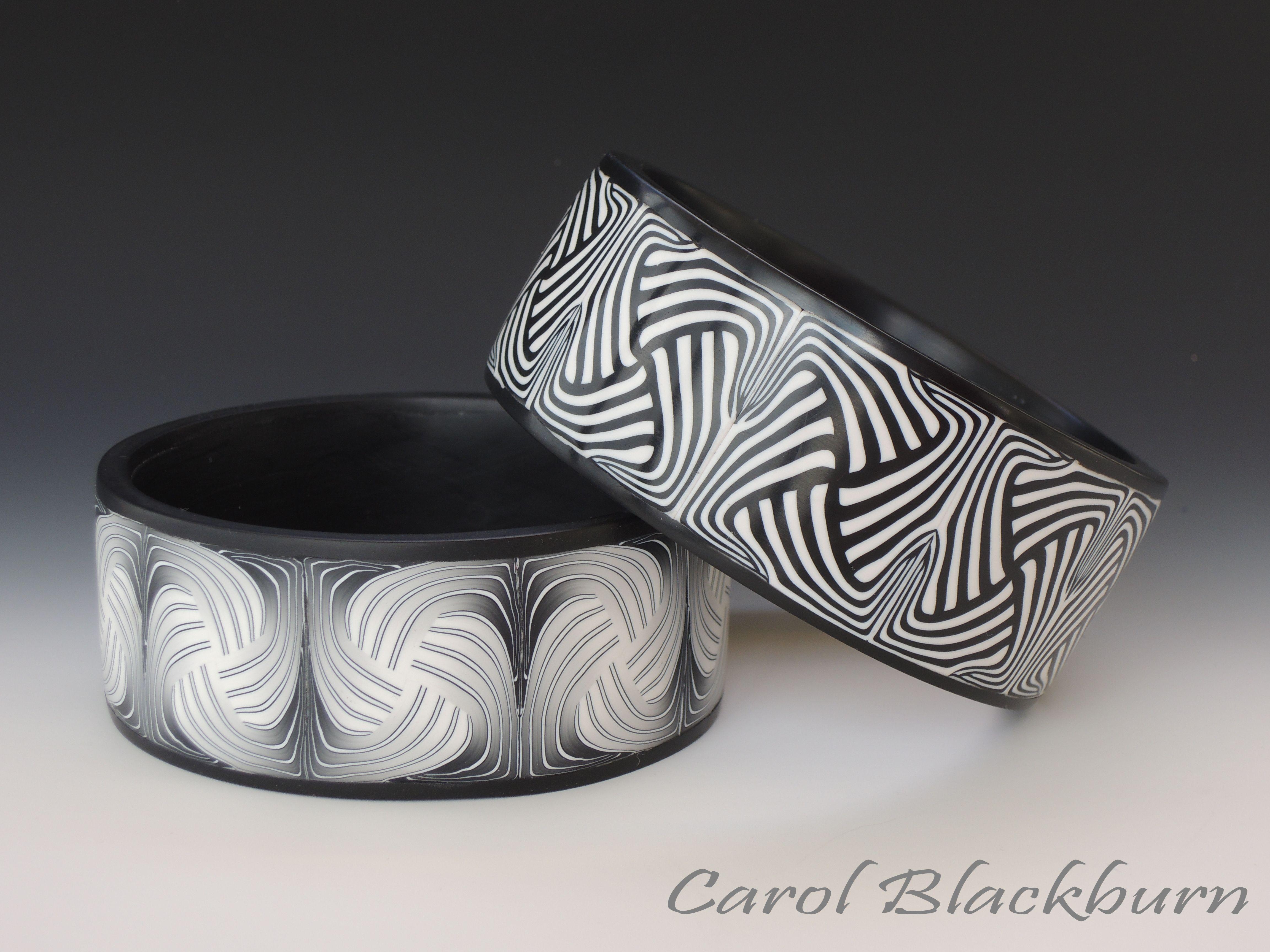 Carol Blackburn, bangles in Network pattern, polymer clay.