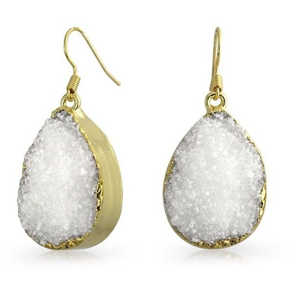 Bling Jewelry Bling Jewelry Yellow Gold Plated Druzy Agate Teardrop... ($10) ❤ liked on Polyvore featuring jewelry, earrings, white, long earrings, teardrop earrings, yellow gold dangle earrings, dangle earrings and white agate earrings