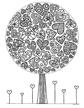 Valentine Heart Tree Zentangle Coloring Page Tree Coloring Page