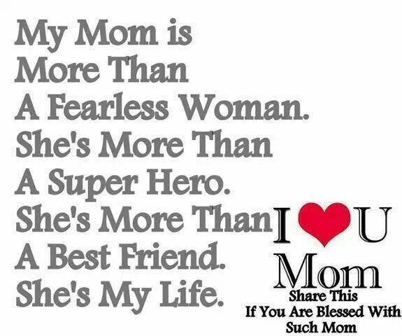 my mom is my best friend mothers love is forever my mom is the strongest womem i know my best friend my supporter my biggest critic tne only one who hss ever been there for me and the only one who can