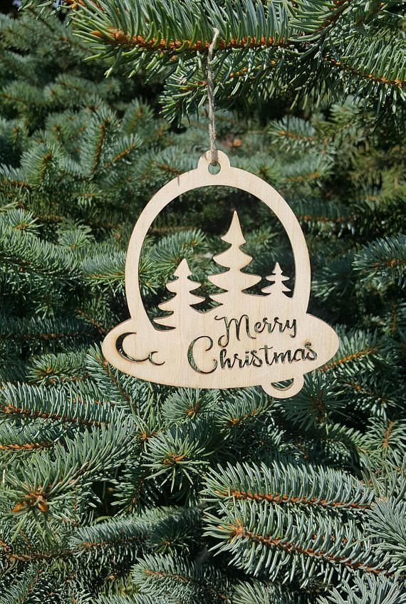 Christmas Tree Wood Ornament Laser Cut Xmas Decorations Wooden Merry