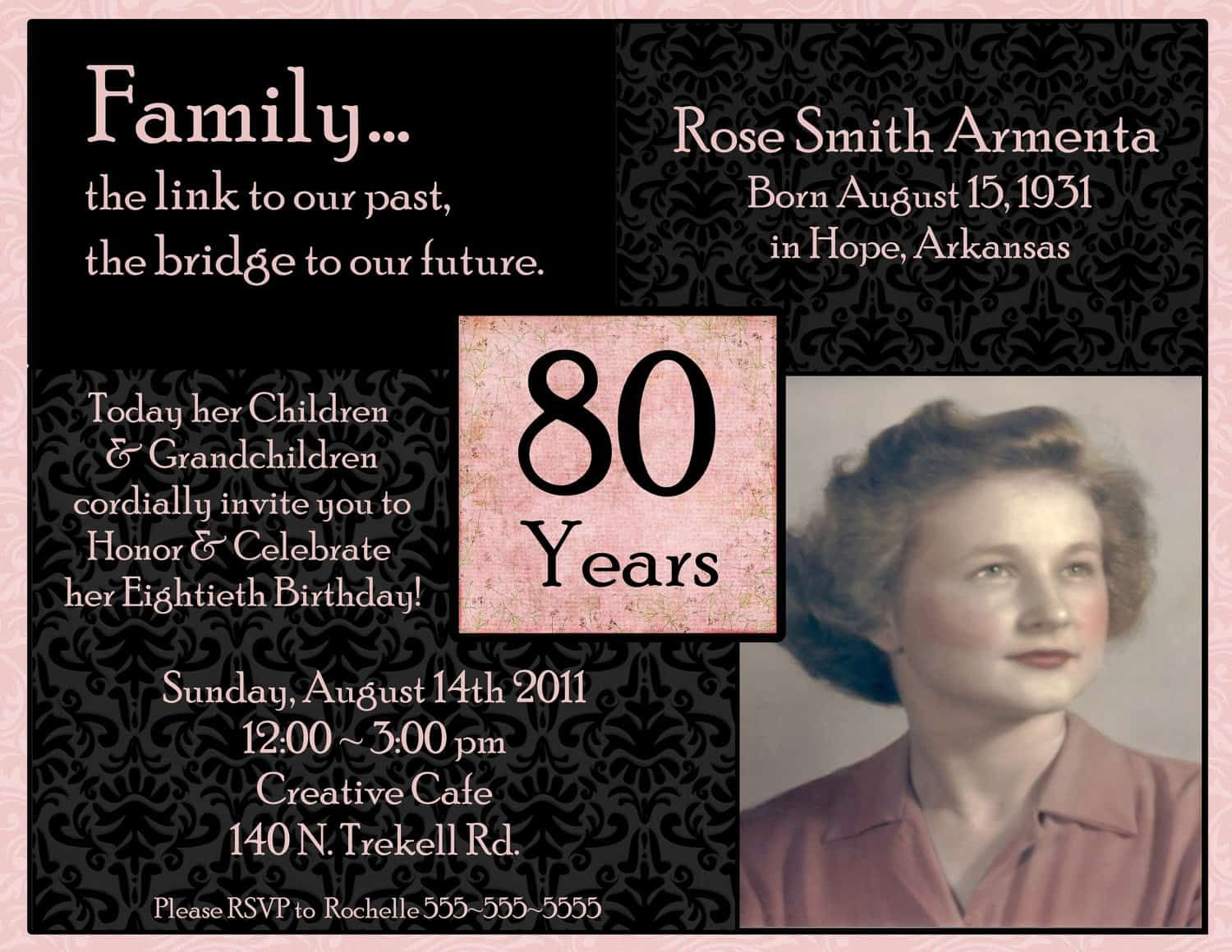 Cool How To Create 80th Birthday Invitations Free Templates Check More At Http Birthday Party Invitation Wording 90th Birthday Invitations 80th Birthday Party