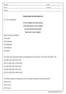 Problemas de matemática - 3º ano
