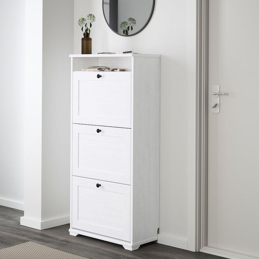 Brusali Armoire A Chaussures 3 Casiers Blanc 61x130 Cm Ikea In 2020 Shoe Cabinet Ikea Brusali Shoe Storage Cabinet