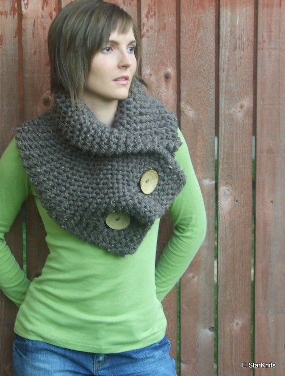 Chunky button cowl shawl neck warmer - barley - the anouk | 1 ...