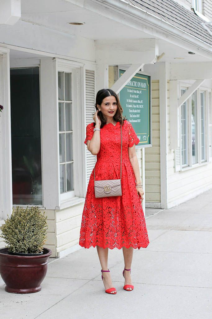 a4f31ecb3a Red Chicwish Crochet Lace Dress Nude Gucci Marmont Matelasse Mini Bag  Wallet on a Chain Blogger Outfit Picture
