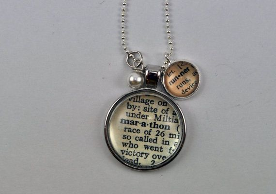 Vintage dictionary word necklace pendant marathon runner vintage dictionary word necklace pendant marathon by kraftykash 2600 handmade aloadofball Choice Image
