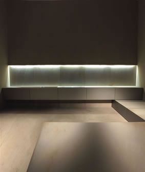 Clean Lines Combined With Subtle Lighting Kitchen Area By