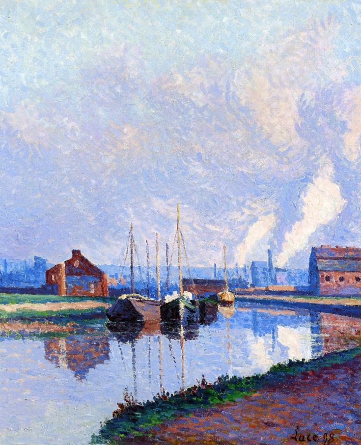 Maximilien Luce - Charleroi, Barges on the Sambre,1898