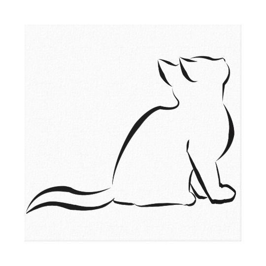 Black Cat Silhouette Canvas Print In 2020 Simple Cat Drawing Cat Tattoo Designs Black Cat Tattoos