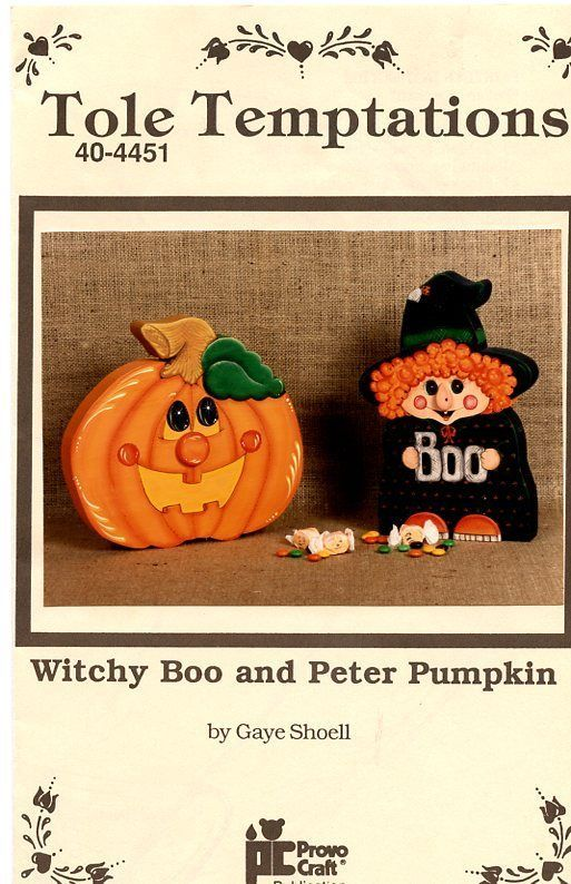 witch and pumpkin by gaye shoell tole painting pattern packet fall