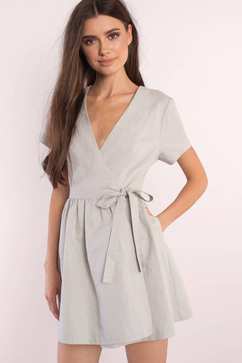 1f2f6149d62 Elaine Linen Grey Wrap Skater Dress