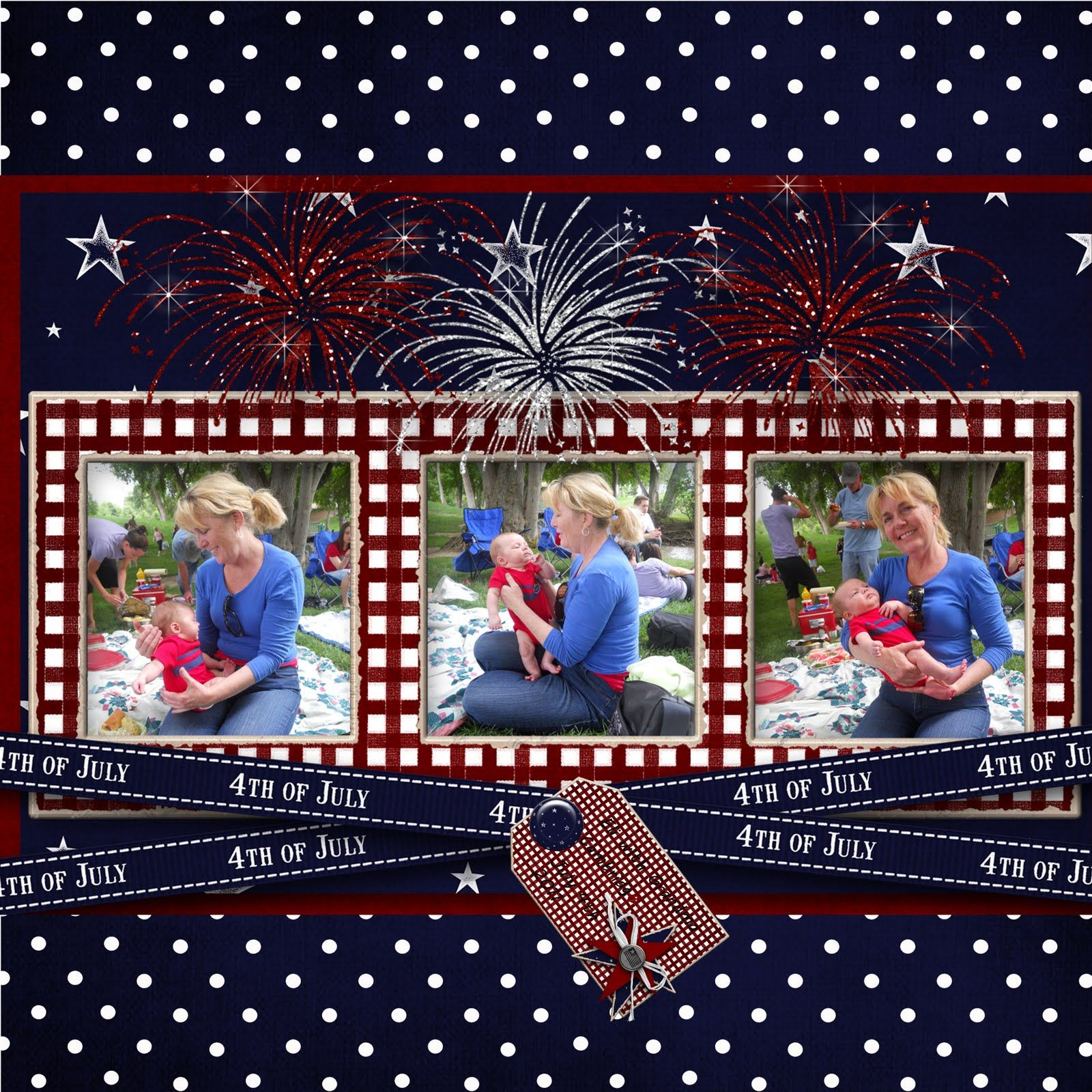 Scrapbook ideas with ribbon - 4th Of July Scrapbook Layout Idea Like The Criss Crossed Ribbon
