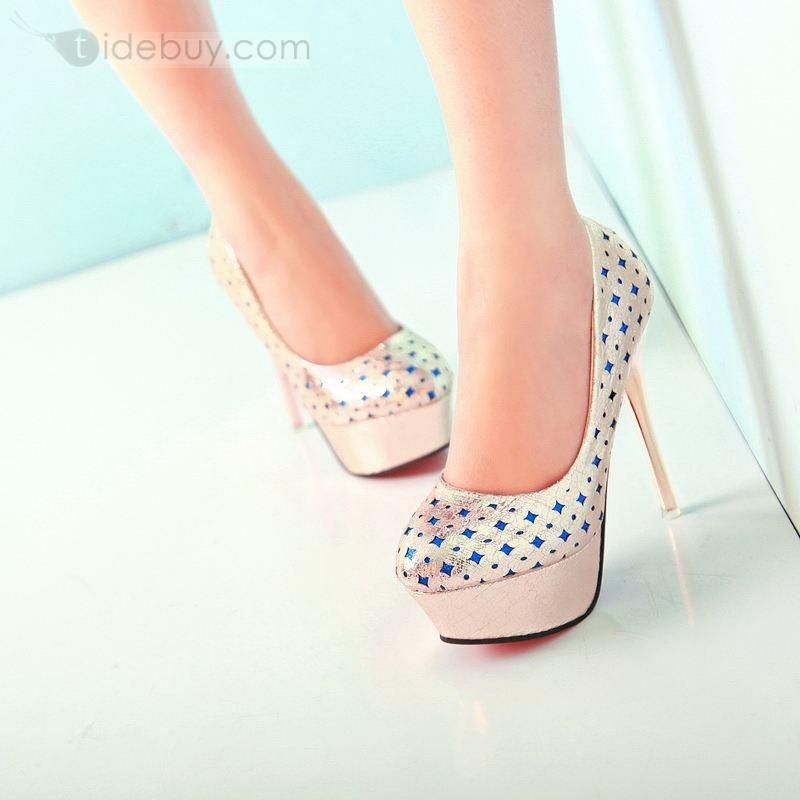 Korean Style Blue Star Golden Shinning PU Stiletto Heel Prom Shoes