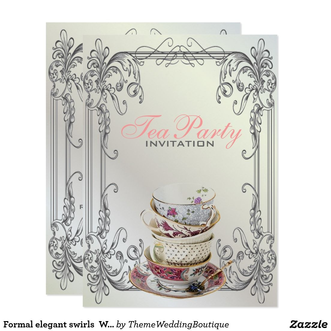 Formal elegant swirls white vintage tea party card tea party formal elegant swirls white vintage tea party card stopboris Choice Image