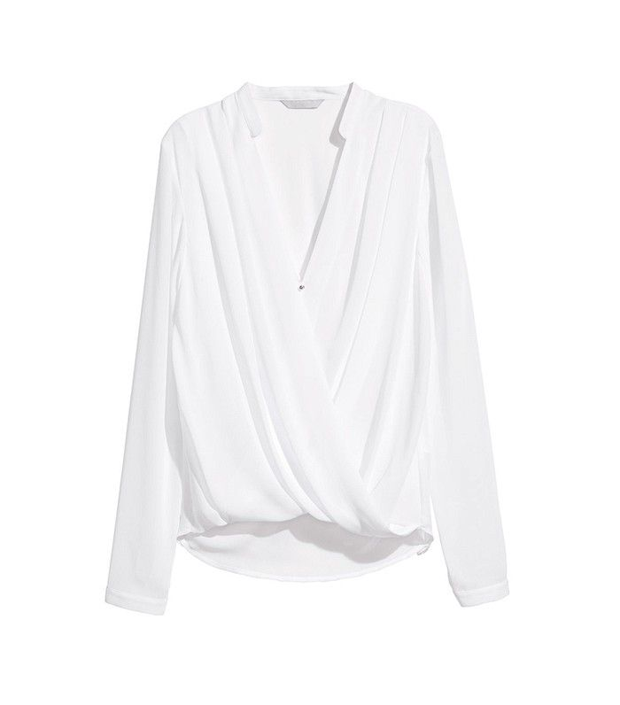 H&M Draped Wrap-Style Blouse in White