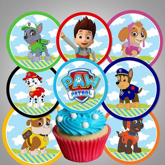 Paw Patrol Cupcake Toppers Party Printable Diy By Digidivashop