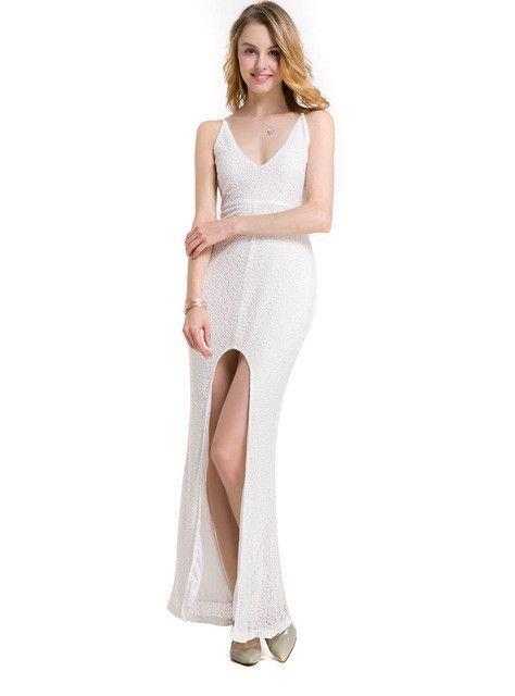 2017 Summer Sexy V Collar Backless Bandage High Split Lace Party Dress High Waist Bodycon Maxi Club Dress Robe Logue