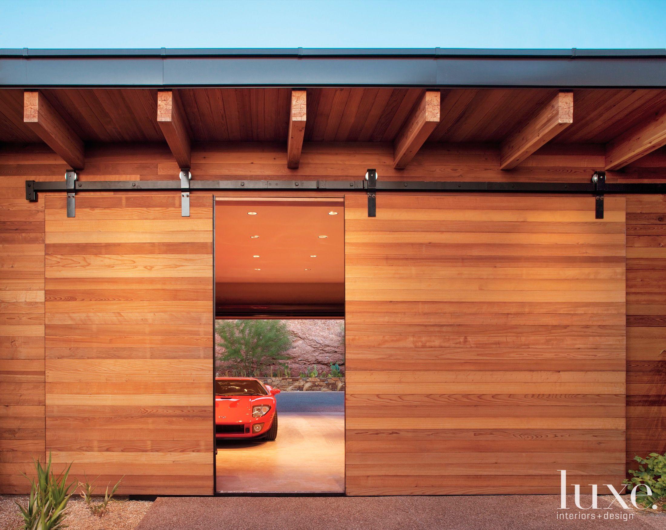 This Is Great Sliding Barn Style Cedar Door For An Arizona Garage Doors Luxesource Com Contemporary Barn Sliding Garage Doors Garage Door Design