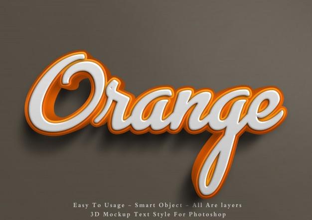 3d Mockup Orange Text Style Effect Text Style Free Logo Mockup Psd Psd Free Photoshop