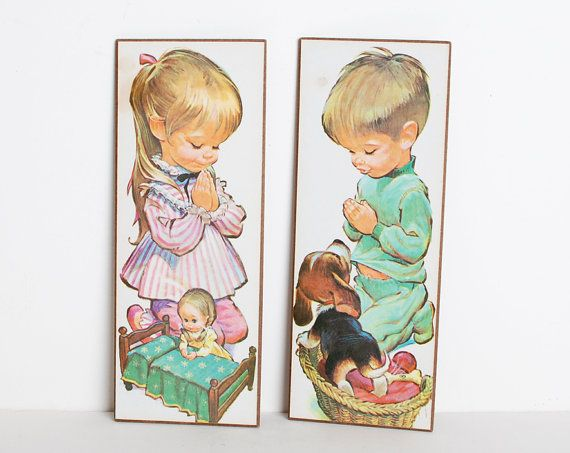 Vintage 60s MOD Girl & Boy Bedtime Prints Set of 2