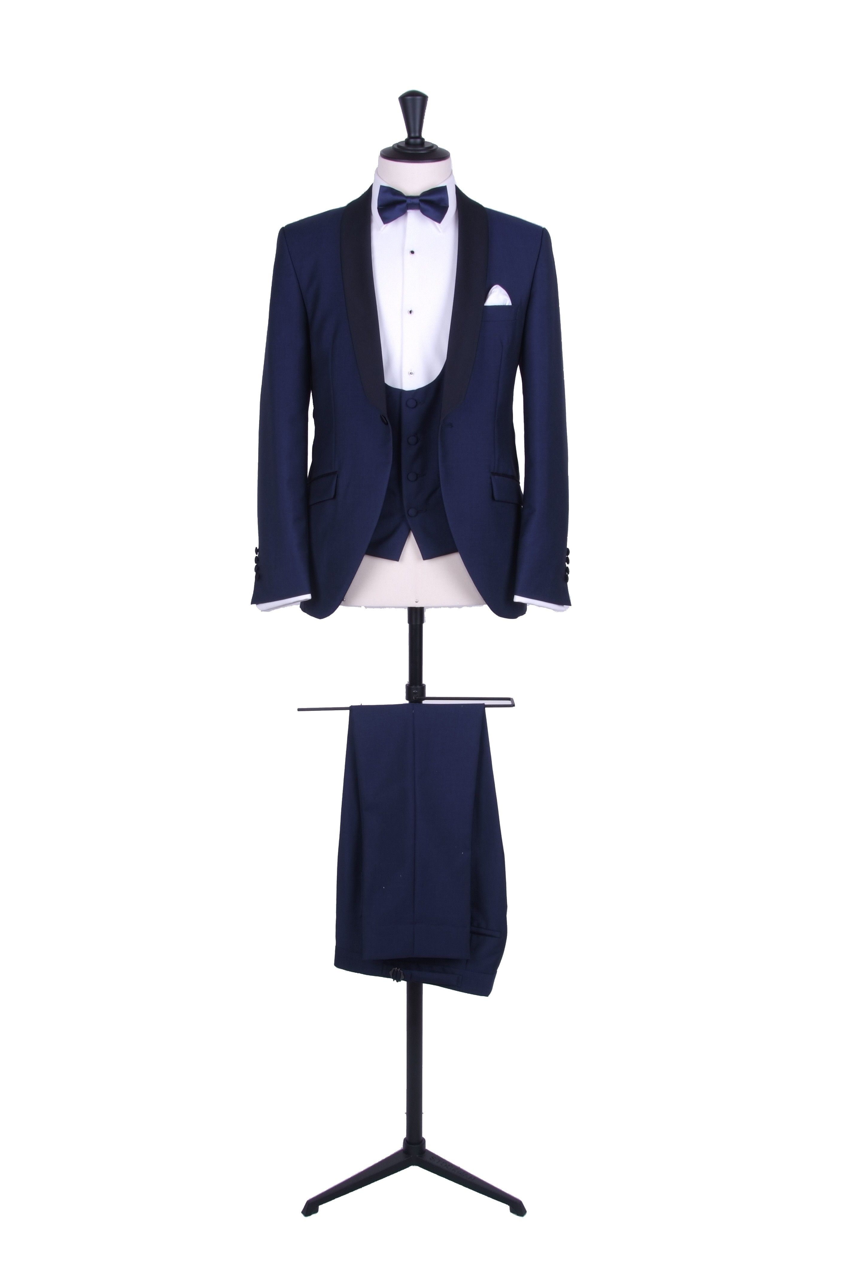 Grooms royal blue and navy shawl collar dinner suit / tuxedo with ...