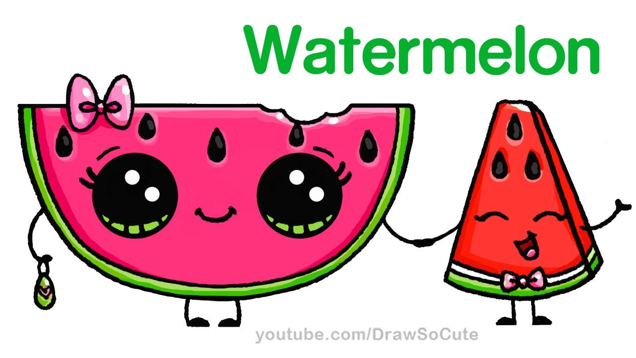 How to draw watermelon slice cute step by step easy for How to draw cute stuff step by step