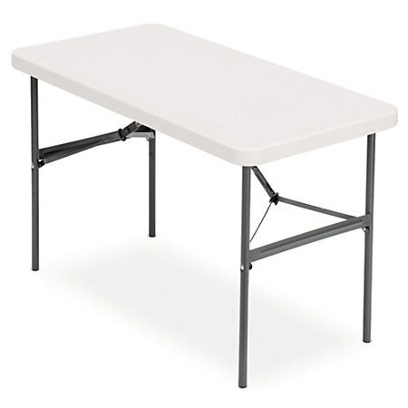 """realspace folding table, molded plastic top, 4' wide, 29""""h x 48""""w x"""