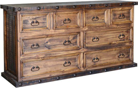 Old West Rustic 8 Drawer Dresser