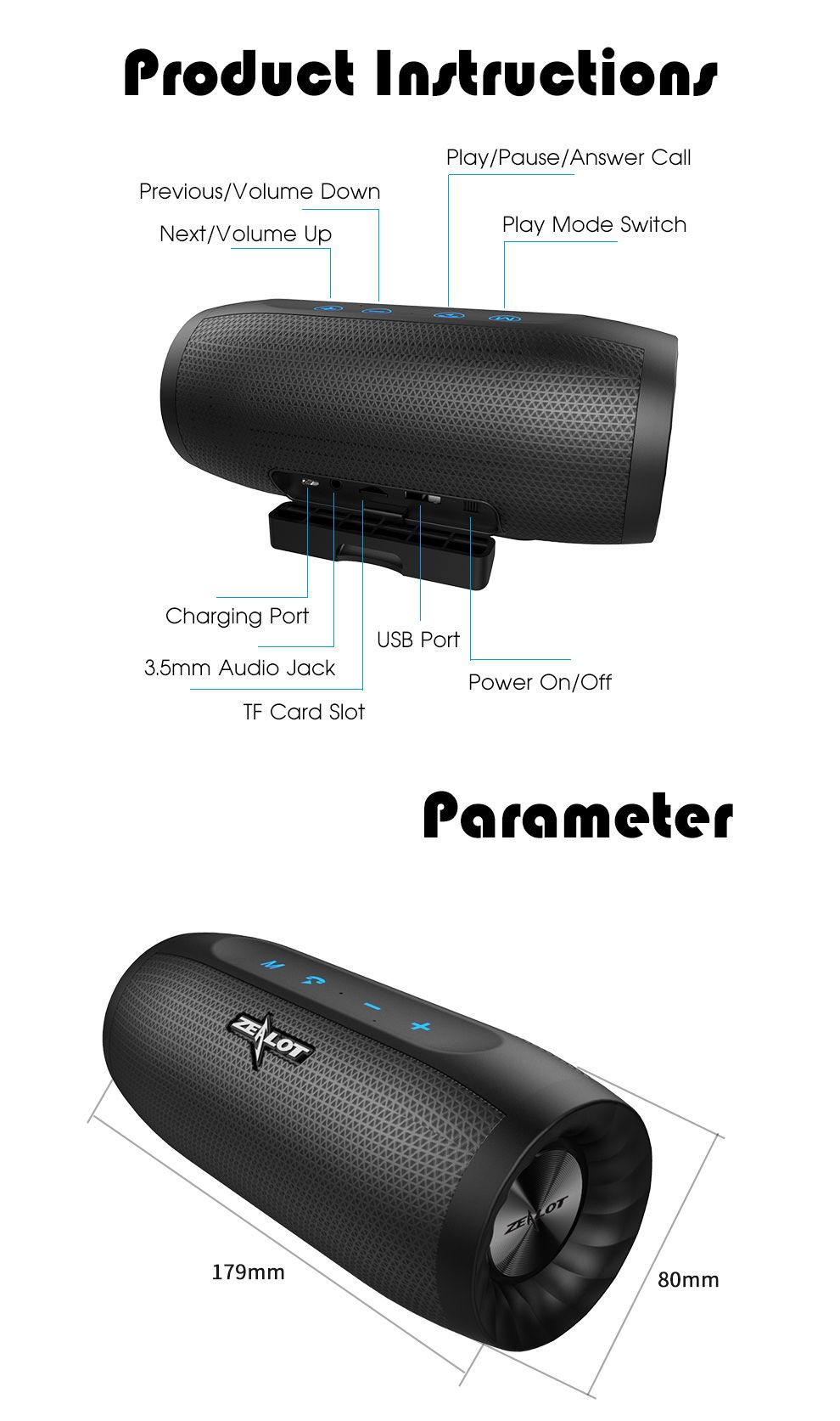 2a478e03ec23ef ZEALOT S16 HiFi Portable Bluetooth Speaker Dual Units 4000mAh Outdoors  Waterproof TF Card Soundbar