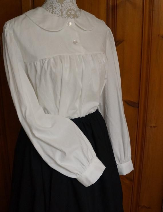 Womens White Soft Gather Peasant Long Sleeved Blouse
