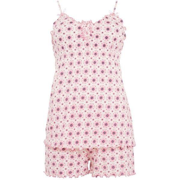 Coral Geometric Flower Frill Edge Short Pyjamas (70 DKK) ❤ liked on Polyvore featuring intimates, sleepwear, pajamas, pijama, short sleepwear, short pajamas and short pyjamas