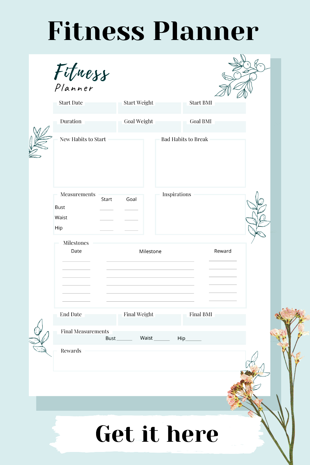 This printable fitness health planner has changed my life! I can plan my weekly and daily workout ro...