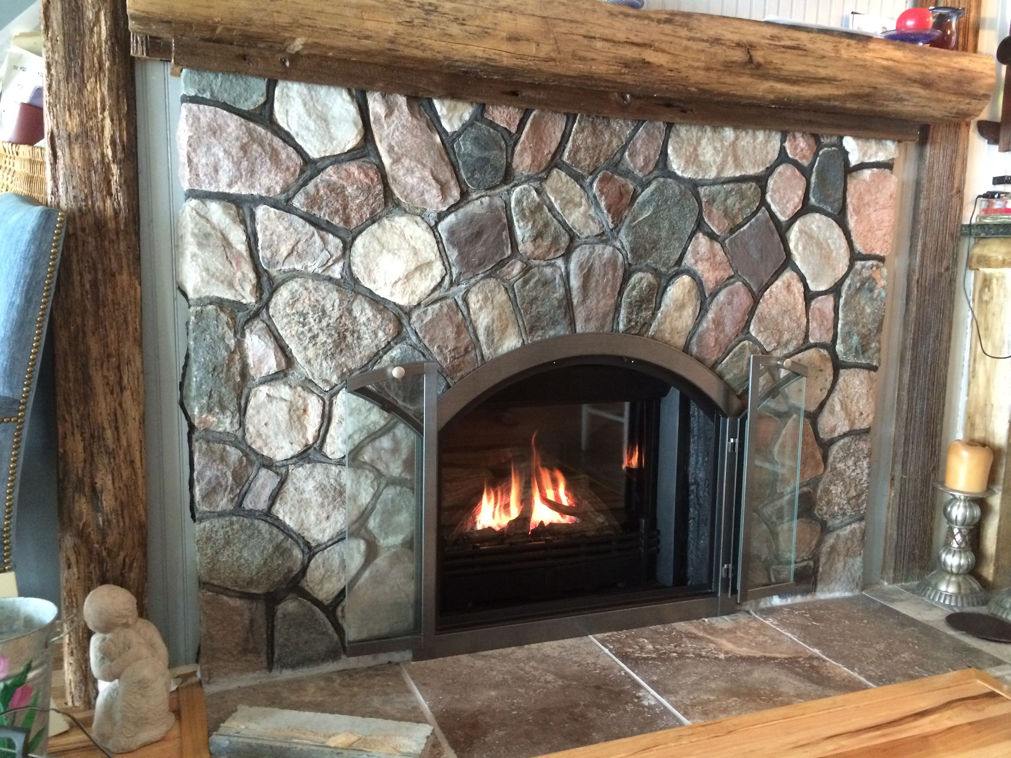 Valor G3 739jln Gas Insert In Arched Masonry Fireplace With Custom Glass Doors Valor Radiant
