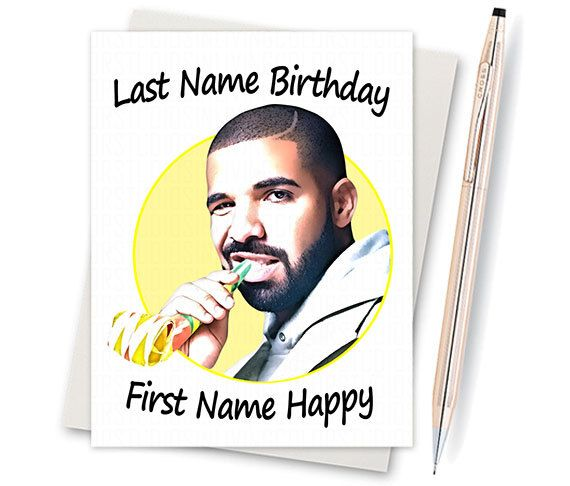 Drake Birthday Card Funny Birthday Card By InLivingColorStudios