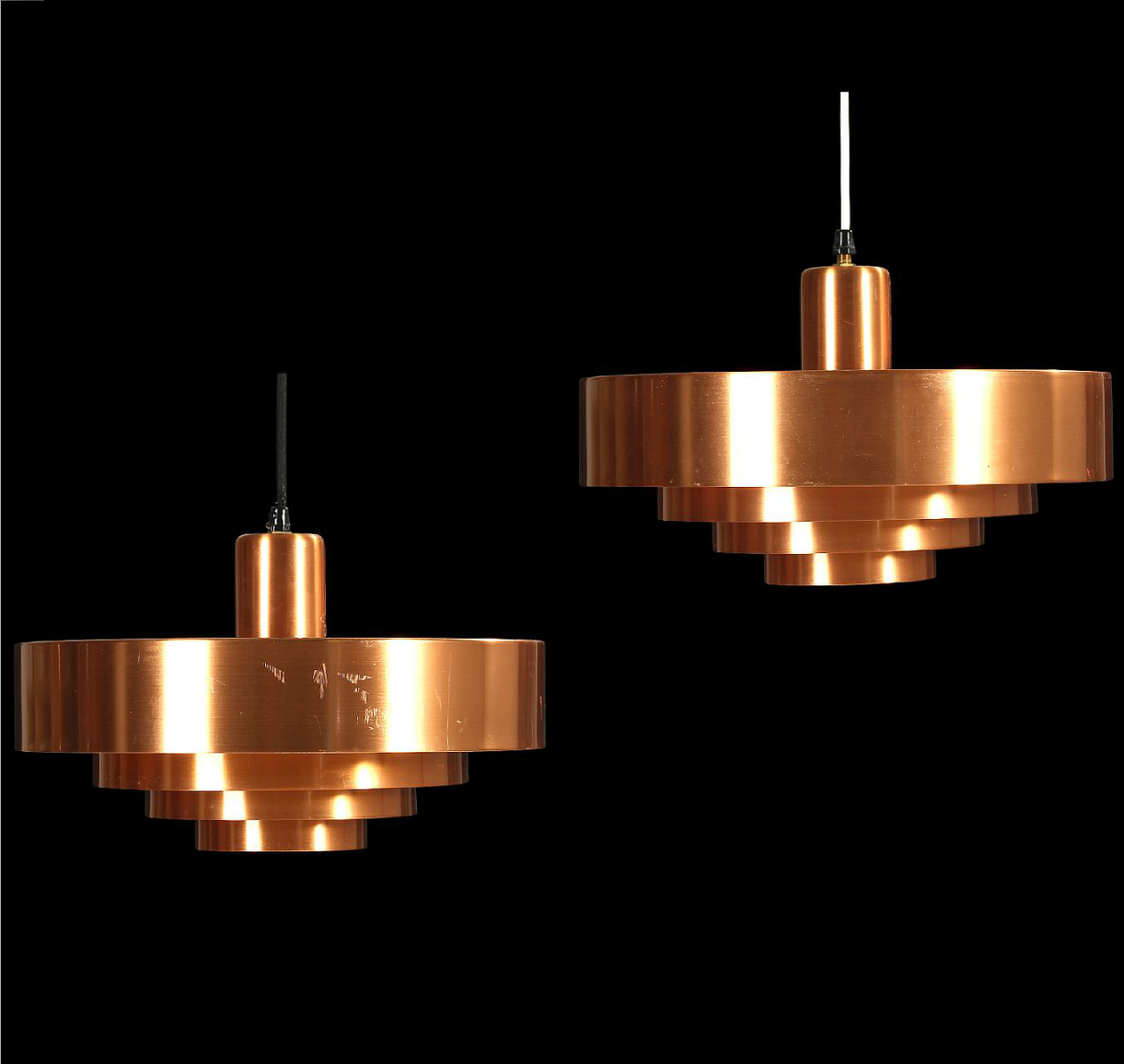 Jo Hammerborg Copper Roulet Ceiling Lights For Fog Morup 1960s