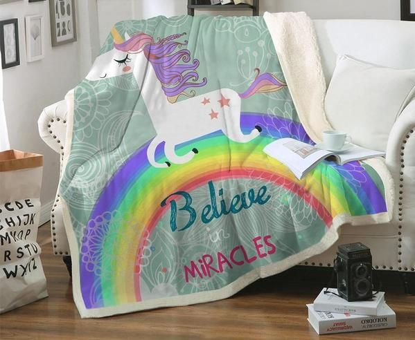 Cool Unicorn Rainbow Blanket Believe Miracles Cartoon Plush Throw Gamerscity Chair Design For Home Gamerscityorg