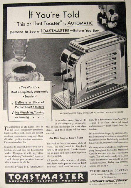 1930 Vintage Toastmaster Toaster Ad