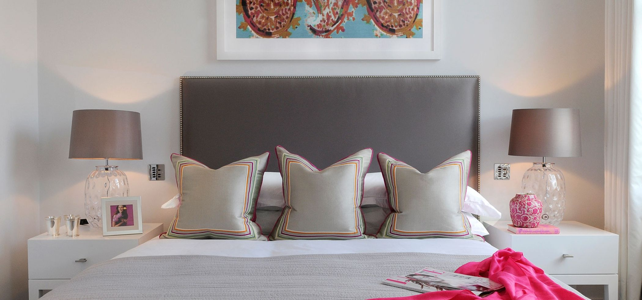 Home interior colour luxury headboard and bedroom design with glass lamps and pink colour
