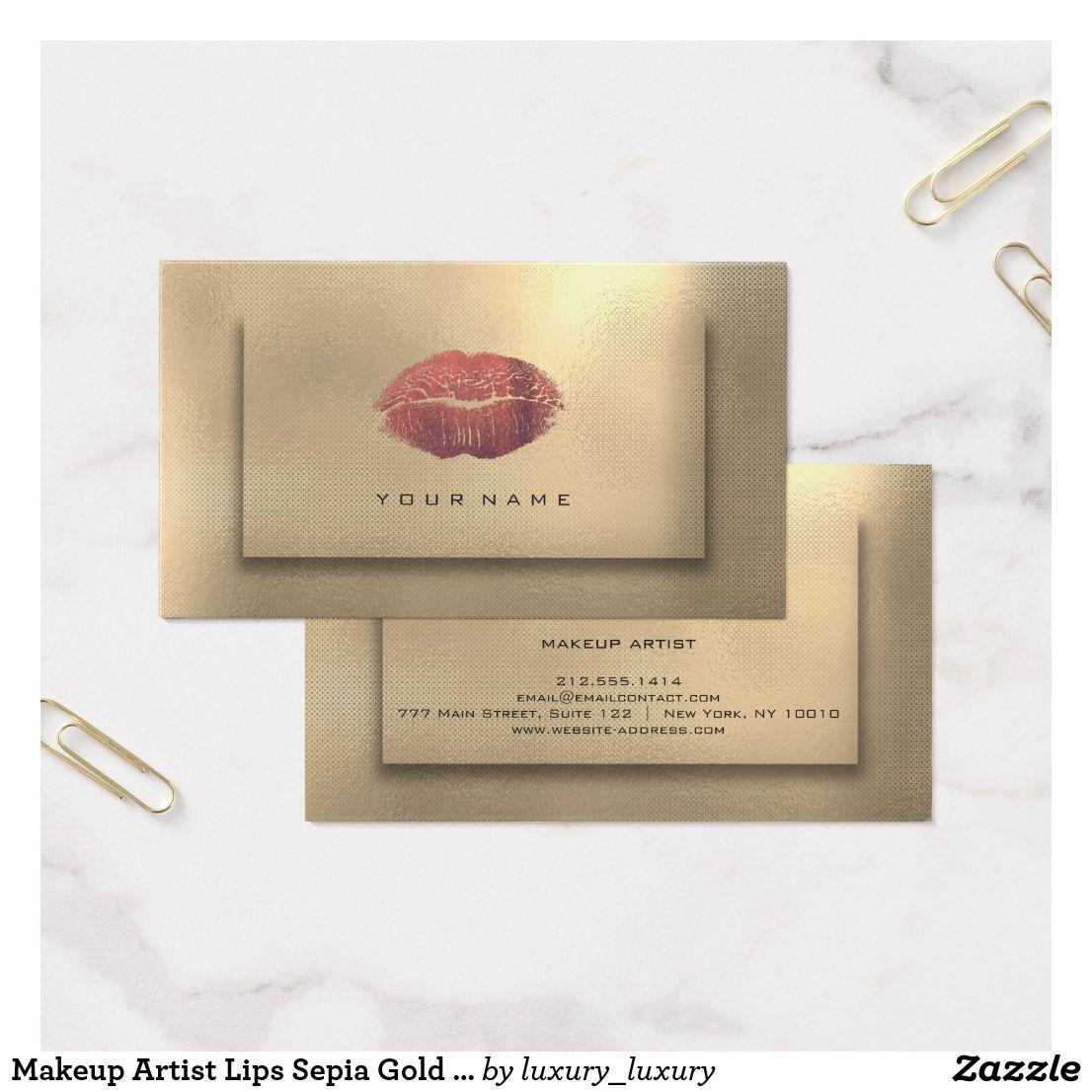 Makeup Artist Lips Sepia Gold Burgundy Beauty Lux Business Card Makeup Artist Gifts Makeup Artist Business Cards Luxe Business Cards