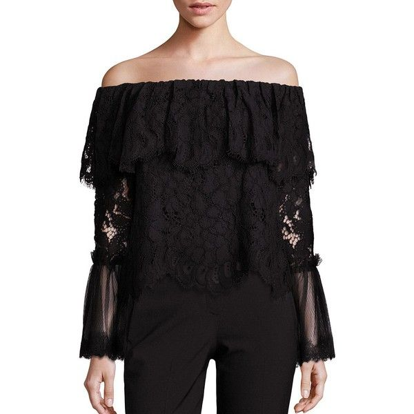 db330c3aee1d9 Alexis Laurena Off-The-Shoulder Lace Ruffle Blouse ( 250) ❤ liked ...