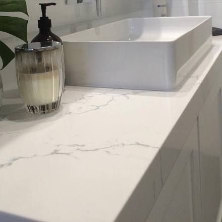 Venatino Statuario Quartz Vanity Essential Spaces