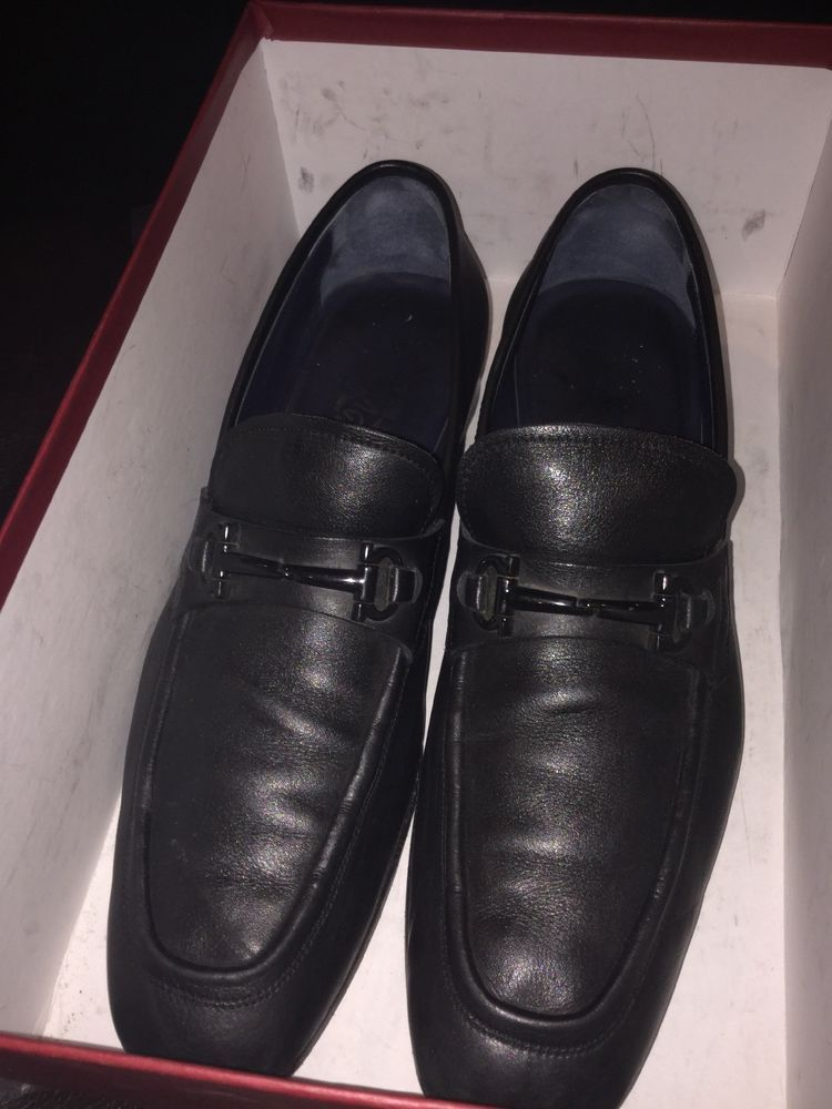 9bf35b64893 Mens Salvatore Ferragamo Black Leather Horse Bit Loafer Shoes. Size 9.5D.   fashion