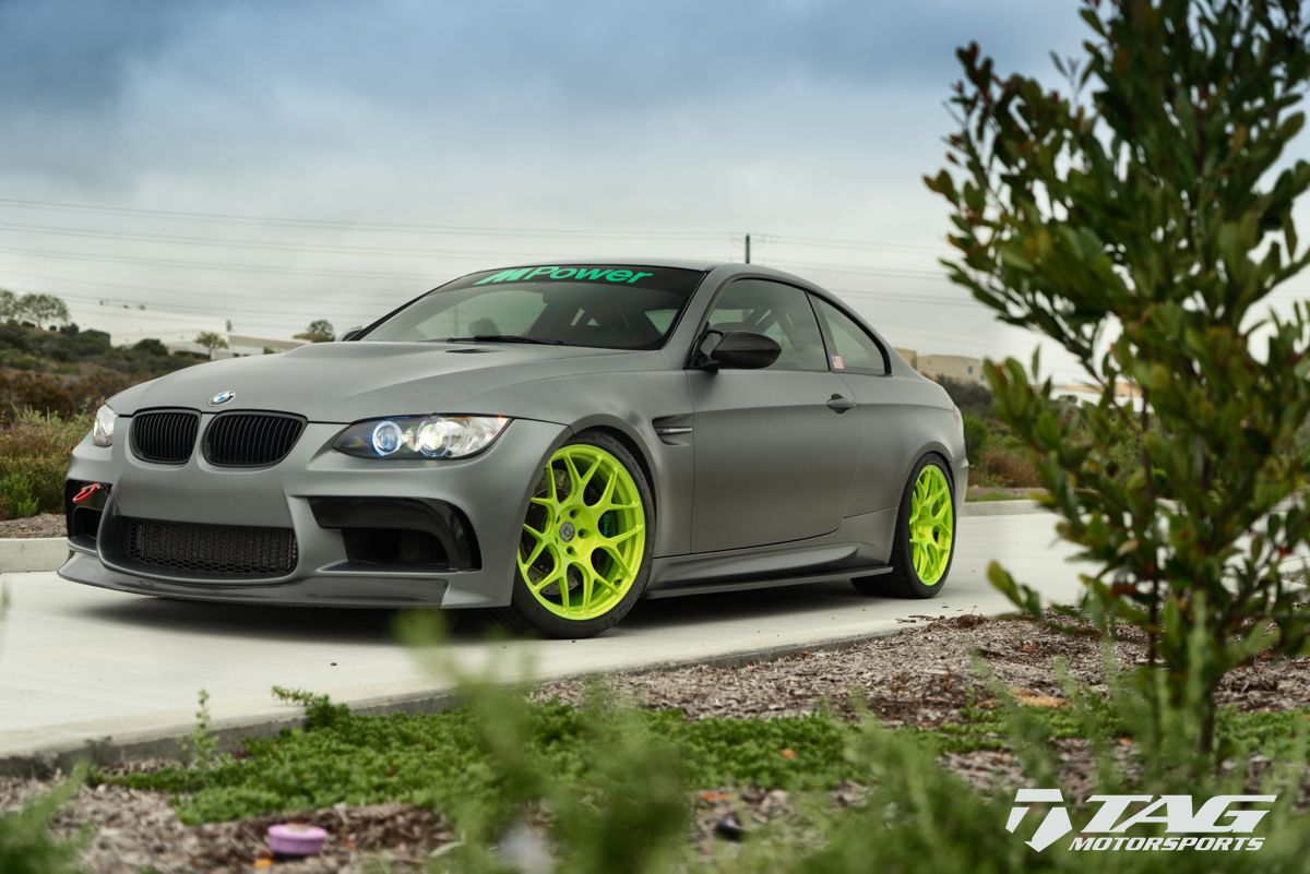 A Bmw E92 M3 With Brushed Green Hre Wheels With Images Bmw